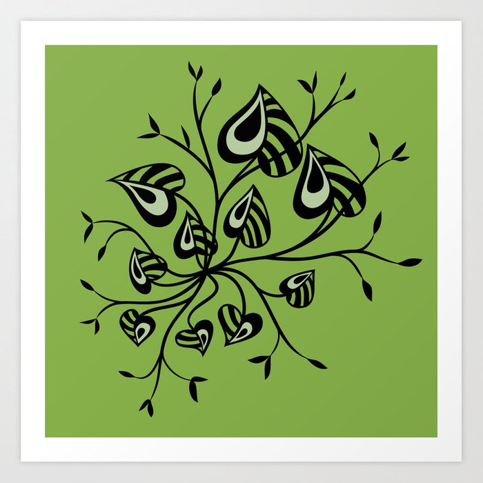 Abstract Floral With Pointy Leaves In Black And Greenery Art Print