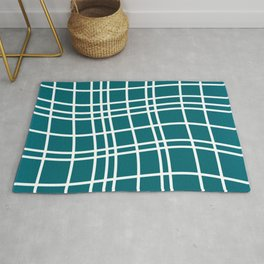 Dancing White Lines on Teal Field Rug