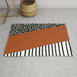 Polka Dots and Stripes Pattern (black/white/burnt orange) Rug