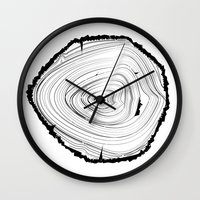 tree rings Wall Clocks featuring Tree Rings by brittcorry
