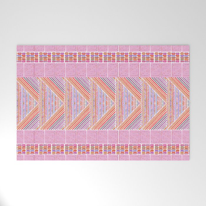 Colorful Geometric Line Work Pattern Welcome Mat