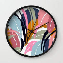 Tropical Leaves In Contemporary Modern Art Designs Wall Clock