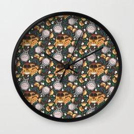 Ghibli pattern 01 (dark grey) Wall Clock