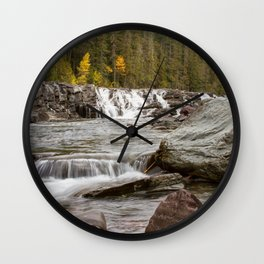 Waterfall - McDonald Creek - Glacier National Park Wall Clock
