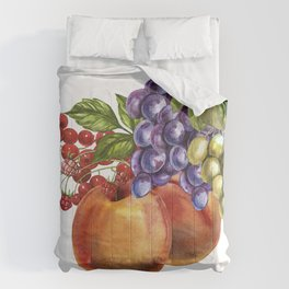 Composition of realistic fruits on a white background in vintage style. Peaches, raspberries, red cu Comforters