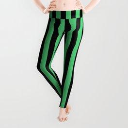 Emerald Green and Black Vertical Stripes Leggings