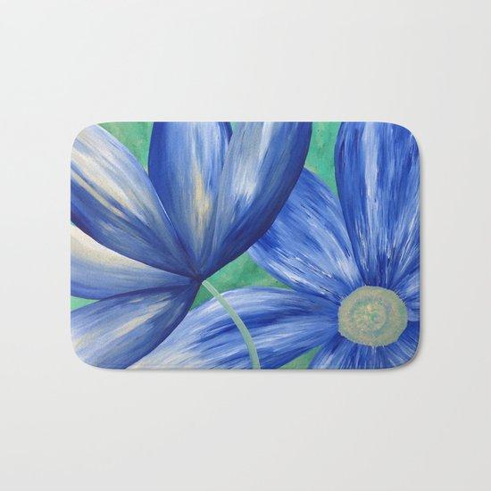 Large Blue Flowers Bath Mat