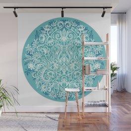 Spring Arrangement - teal & white floral doodle Wall Mural