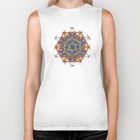 sacred geometry Biker Tanks featuring Sacred Geometry Spacecraft Mandala by Jam.