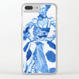 1792 a la campgne -blue ink fashion illustration Clear iPhone Case