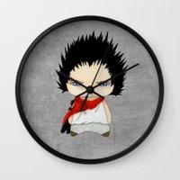 akira Wall Clocks featuring A Boy - Tetsuo (Akira) by Christophe Chiozzi