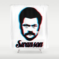 ron swanson Shower Curtains featuring Swanson by ThePencilClub