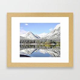 Snowy Mountain Lake Airbrush Artwork Framed Art Print