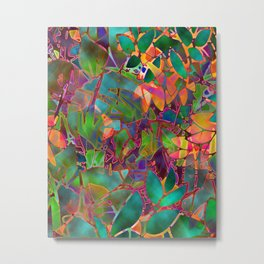 Floral Abstract Stained Glass G176 Metal Print