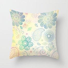 Vintage Flower Pattern Background Throw Pillow