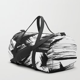 Modern Brush Strokes Black and White Duffle Bag
