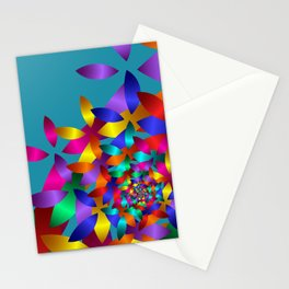fractal pattern on turquoise -302- Stationery Cards