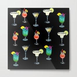 Cocktail Patten Black Background Metal Print