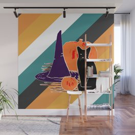 Witch Cat Pumpkin in Candy Corn Wall Mural