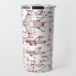 F-18 Blueprints // Red Ink Travel Mug