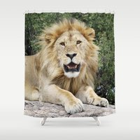 lion king Shower Curtains featuring Lion King by Meghan M