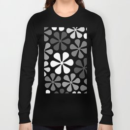 Abstract Flowers Monochrome Long Sleeve T-shirt