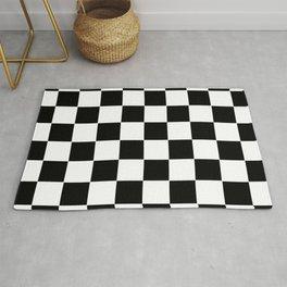 Checker Cross Squares Black & White Rug