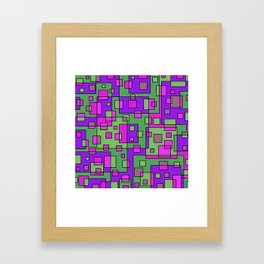 Purple Green Abstract Square Framed Art Print