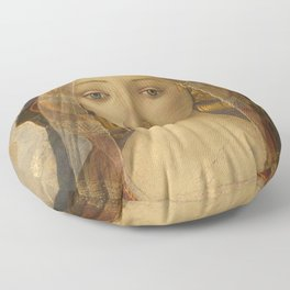 """Sandro Botticelli """"The Virgin and Child with Saint John and an Angel"""" The Virgin Floor Pillow"""