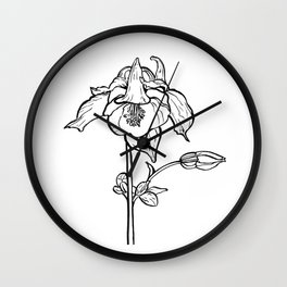 Garden Flower Ink Drawing  Wall Clock