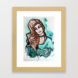 Turquoise Jaded Girl Framed Art Print