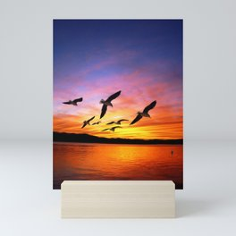 Seagull Sunset Mini Art Print
