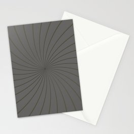 3D Pantone Pewter and Gold Thin Striped Circle Pinwheel Stationery Cards