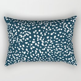 Navy Dots abstract minimal print design pattern brushstrokes painterly painting love boho urban chic Rectangular Pillow