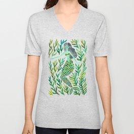 Kelp Forest Mermaid – Green Palette Unisex V-Neck