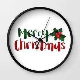 Merry Christmas | Red And Green Holly Wall Clock