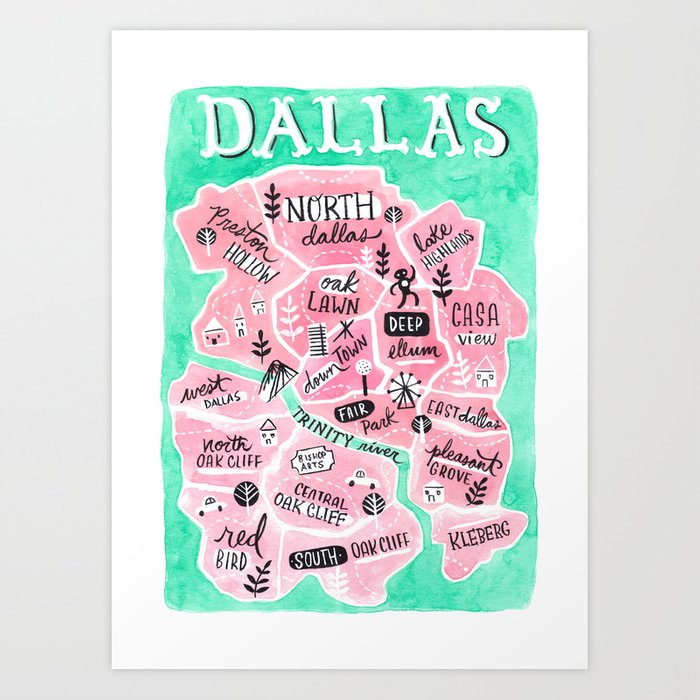 Dallas City Map Art Print by vanhuynh on washington dc city map, dfw area map, yoakum city map, princeton city map, dallas old maps, fort worth texas city limits map, university of chicago city map, palestine city map, grimes city map, houston city map, denton city map, greeneville city map, new roads city map, richardson city map, dallas population 2014, lewisville city map, adairsville city map, johnson county city map, ft worth city map, waxahachie city map,
