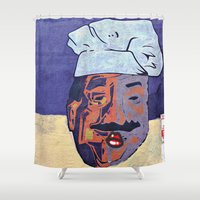 cook Shower Curtains featuring Kiss the Cook  by Ethna Gillespie