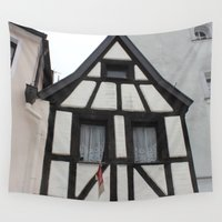 medieval Wall Tapestries featuring Medieval timbered House by Christine aka stine1