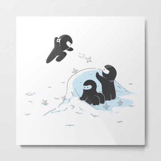 Ninjas do not camouflage well in winter Metal Print
