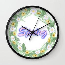 spring graffiti floral wreath Wall Clock