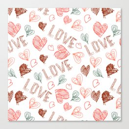 "Lettering grunge background. Hearts, hand written word ""Love"". Canvas Print"