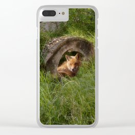 Fox in a Log Clear iPhone Case
