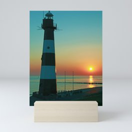 Sunset by the old Lighthouse in Breskens, Netherlands Mini Art Print