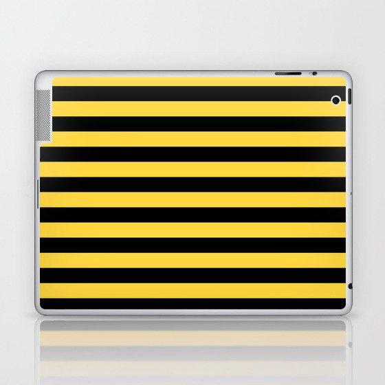 Even Horizontal Stripes, Yellow and Black, M Laptop & iPad Skin