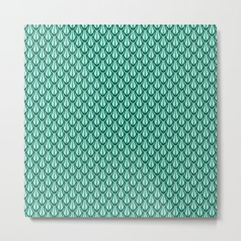 Gleaming Green Metal Scalloped Scale Pattern Metal Print