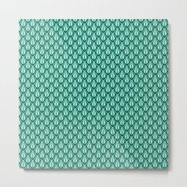 Gleaming Green Metal Scalloped Scale Pattern Metal Print