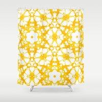 batik Shower Curtains featuring batik floral by clemm