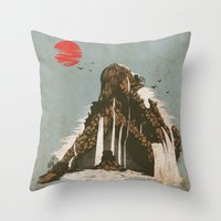 castle Throw Pillows featuring hidden castle by Steven Toang