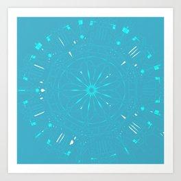 Psychadelic Space Mandala - Turquoise Art Print